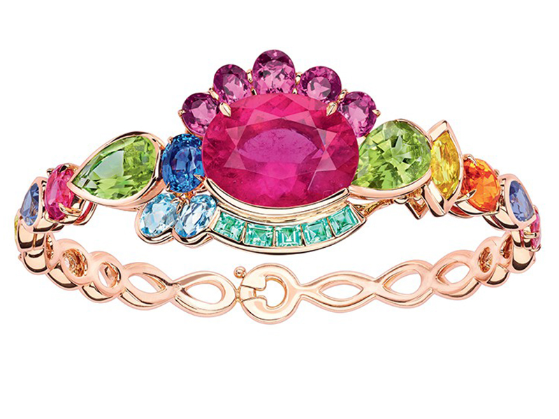 Dior From Granville Collection - Multicolor bracelet mounted on rose gold with pink tourmaline