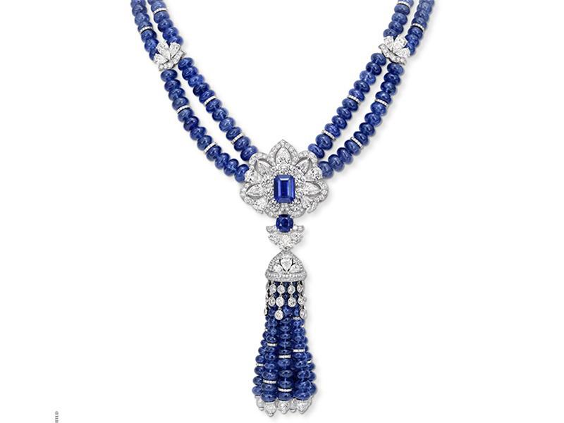 sapphire bead necklace tassel graff