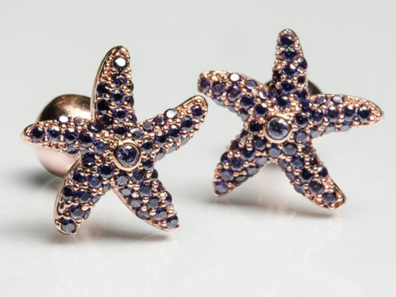 Begüm Khan Sea star - 24k rose gold plated with purple gems