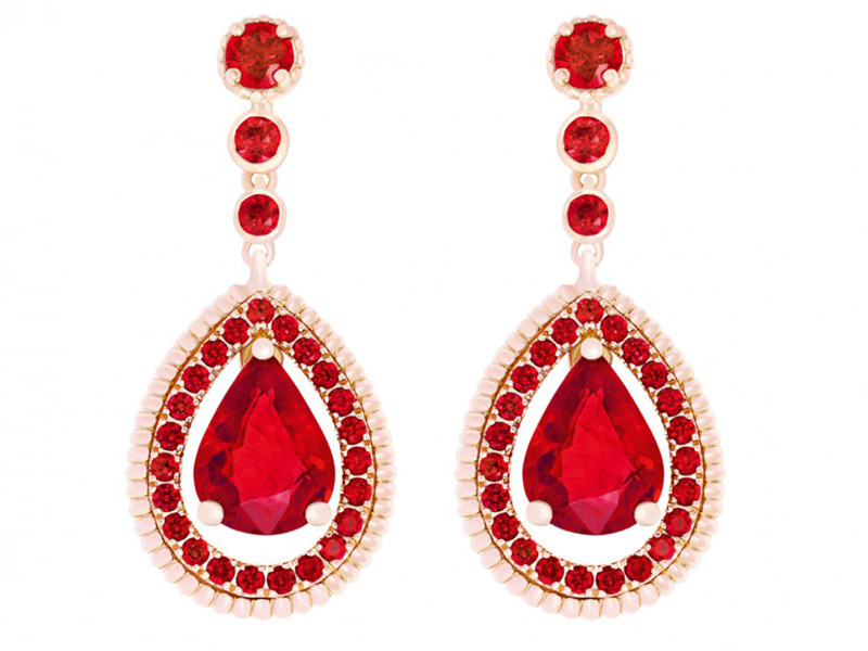 Fabergé Three colors of love ruby drop earrings mounted on rose gold