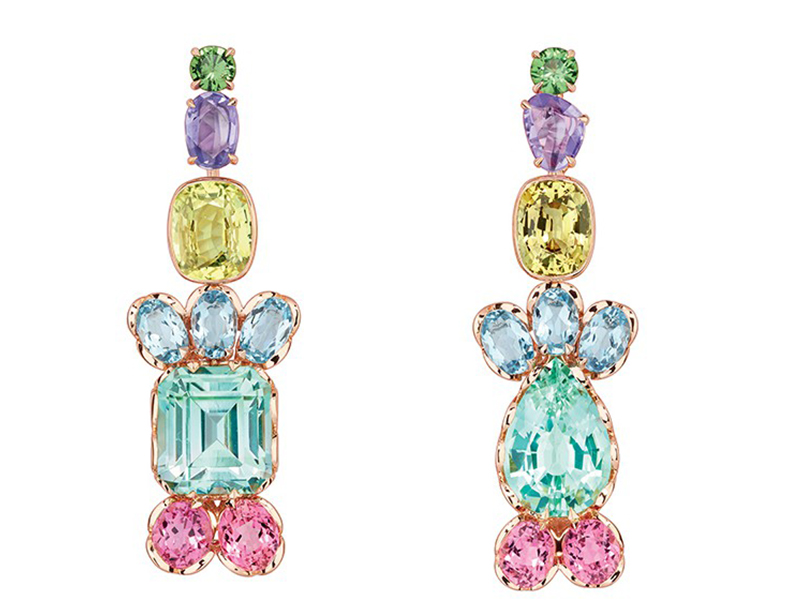 Dior The Granville Collection - Multicolor earrings mounted on rose gold with green tourmaline