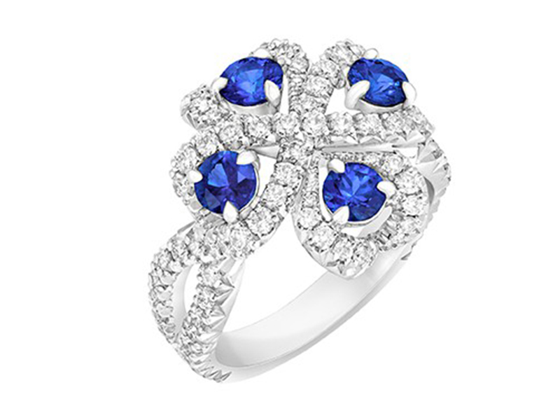 Fabergé Imperial quadrille blue sapphire ring with blue sapphires and white diamonds