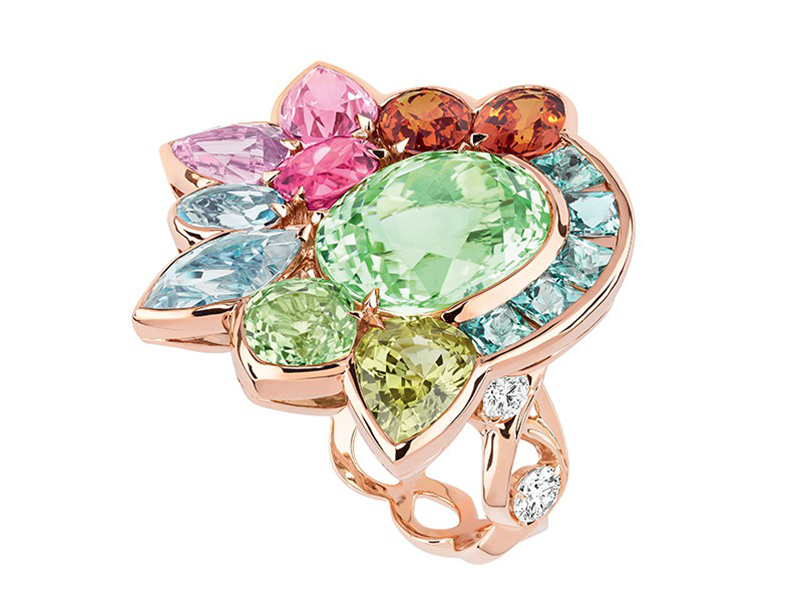 Dior The Granville Collection - Multicolor ring mounted on rose gold with green tourmaline