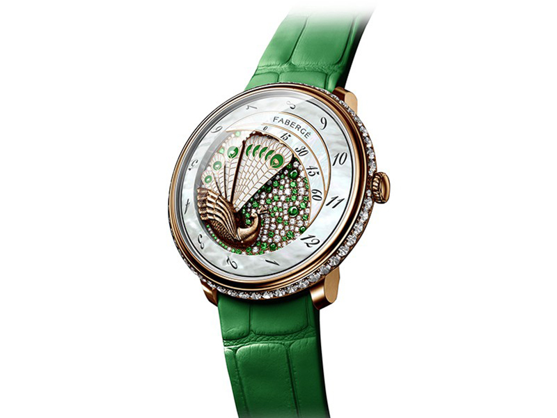 Fabergé Lady compliquée Peacock emerald watch mounted on rose gold with diamonds and emeralds