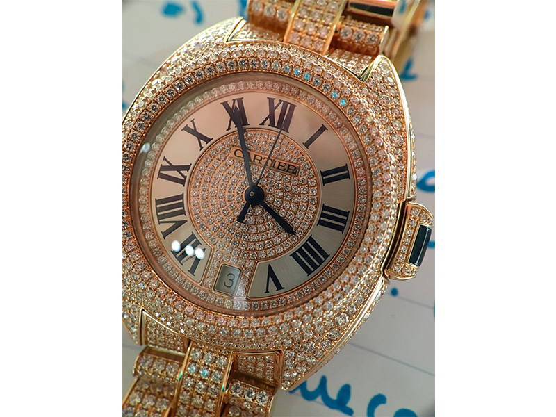 Cartier watch dimaonds gold