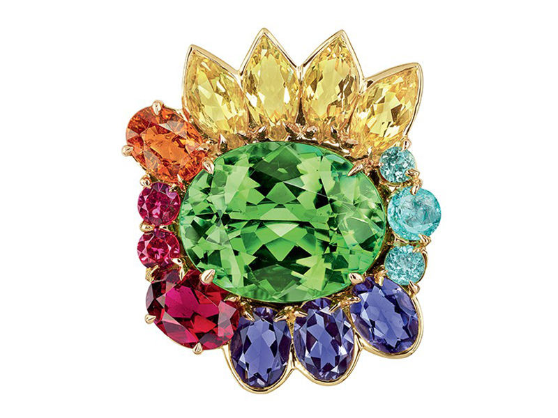 Dior The Granville Collection - Multicolor ring mounted on yellow gold with green tourmaline