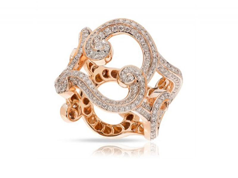 Fabergé Rococo lace diamond mounted on rose gold