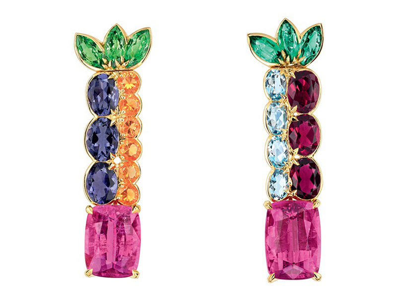 Dior From Granville Collection - Multicolor earrings mounted on yellow gold with pink tourmaline
