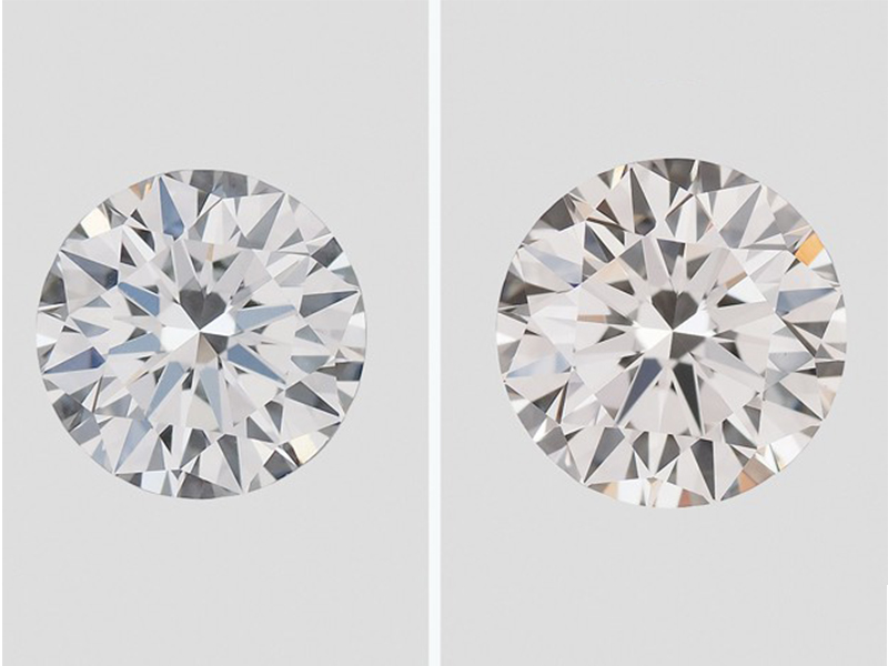 GIA CVD synthetic diamonds produced by Gemesis. The 0.39 ct. round brilliant on the left was graded F color and VVS2 clarity; the 0.83 ct. sample on the right was graded J color and VVS2 clarity.
