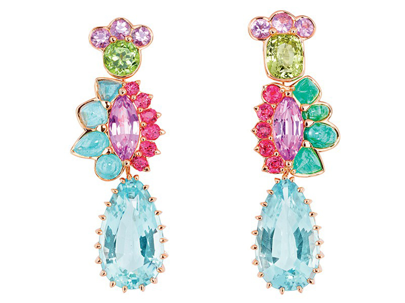 Dior The Granville Collection - Multicolor earrings mounted on rose gold with aquamarine