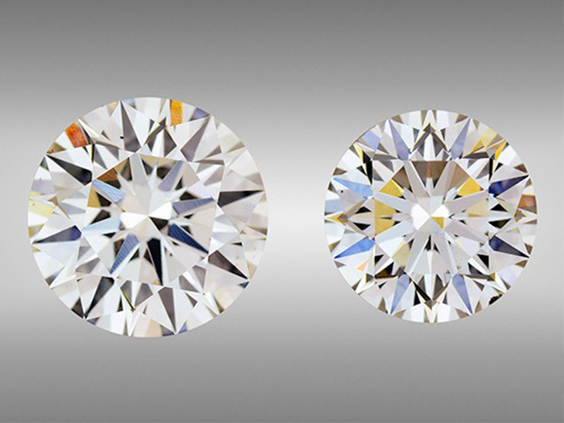 GIA The I-color 3.23 ct round on the left (9.59–9.61 × 5.83 mm) and H-color 2.51 ct round on the right (8.54–8.56 × 5.43 mm) are the largest CVD synthetic diamonds GIA has tested.