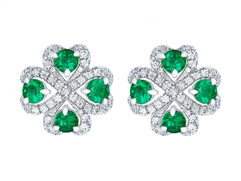 Fabergé Imperial quadrille emerald earrings with emeralds and white diamonds