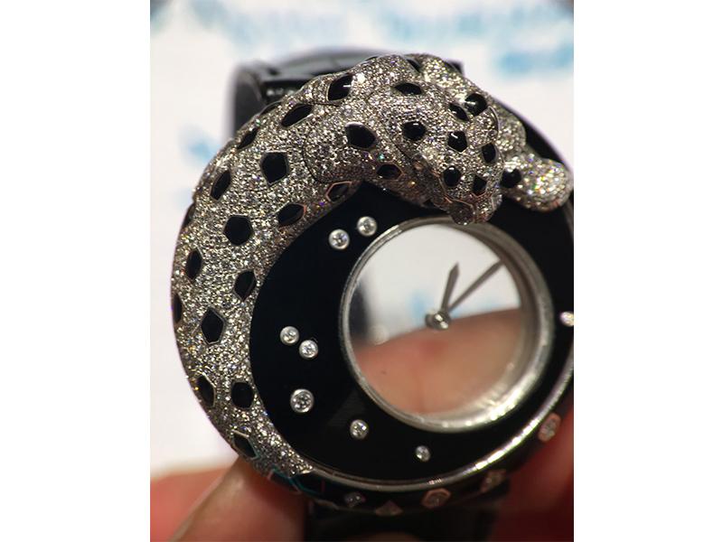 Cartier watch women black white gold