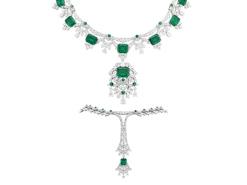 Van Cleef & Arpels Claudine necklace mounted on white gold, yellow gold, round, tapered-cut, triangle-cut, baguette-cut and pear-shaped diamonds, buff-topped round emeralds, 9 emerald-cut emeralds for a total of 42.07 carats (Colombia). Detachable clip.