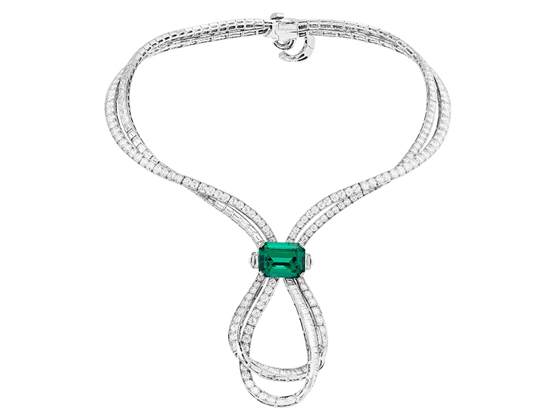 Van Cleef & Arpels Emeraude entrelacée necklace mounted on white gold, platinum, round and baguette-cut diamonds, one emerald-cut emerald of 17.82 carats (Colombia).
