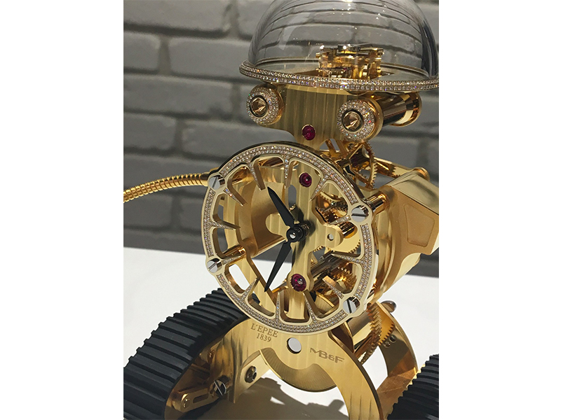 MB&F robot diamonds gold watch
