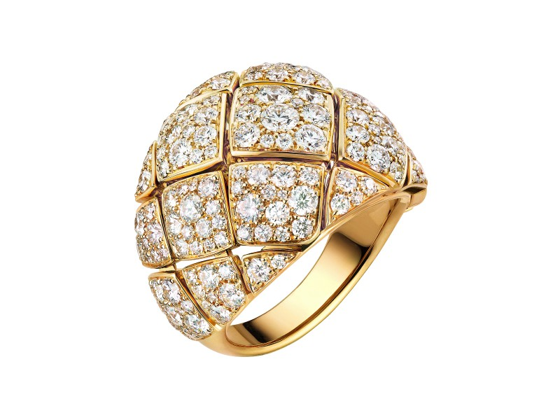 Chanel Signature d'Or Matelassé Ring - Yellow Gold and Diamonds