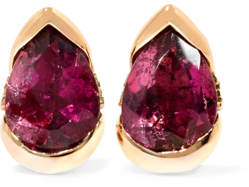 Fernando Jorge Earrings mounted on rose gold with diamonds and tourmaline bloom