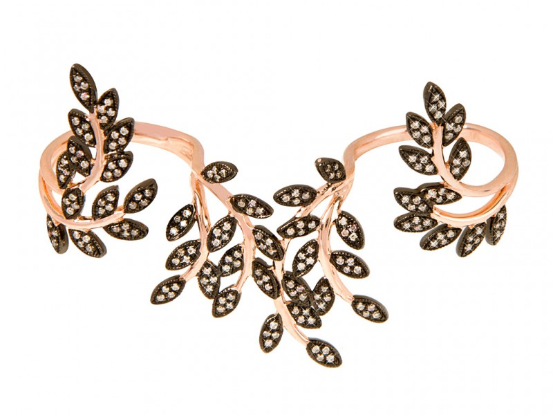 Joelle Jewelry Double feuillage three fingers ring mounted on rose gold and plated silver with brown diamonds