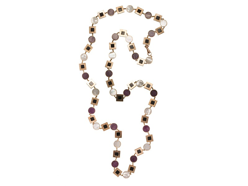 Maurizio Pintaldi Sautoir mounted on brushed rose gold with rough ruby, mother of pearl and black onyx