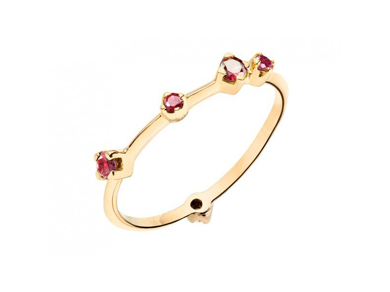 Rivka Rivka Nahmias Jewelry - Yellow gold ring set with 5 rubies - AVAILABLE AT THE EYE OF JEWELRY POP UP STORE IN GENEVA - 790 CHF
