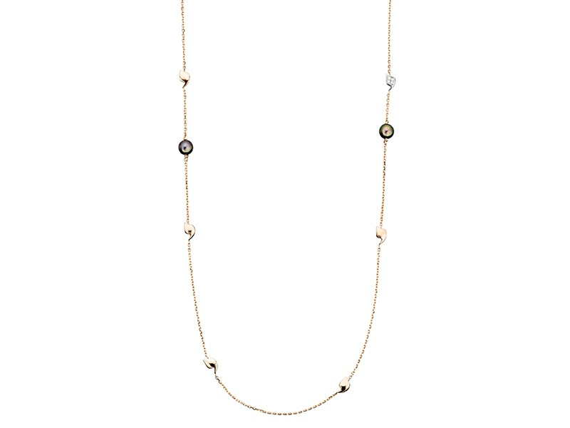 Rivka Nahmias Sautoir Y-Talisman mounted on rose gold with diamonds tahitian pearls