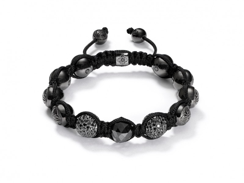Shamballa Shamballa Jewels Bracelet - Raw Black Diamonds, Black Diamond Pavés, 18K Black Rhodium Plated White Gold.