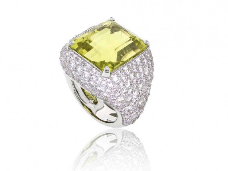 BenGems Ring mounted on white gold set with one yellow quartz and 329 diamonds