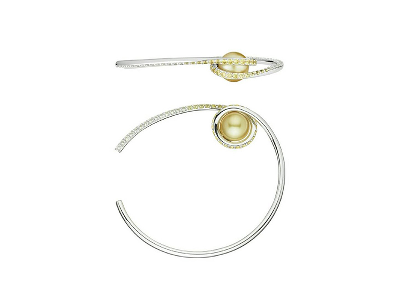 Melanie Georgacopoulos From Twist collection - Twist bangle mounted on 18ct white gold set with ascending white and yellow sapphires & 11mm yellow golden sea pearl