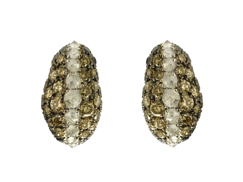 Aaron Jah Stone Stingray studs set on silver with diamonds