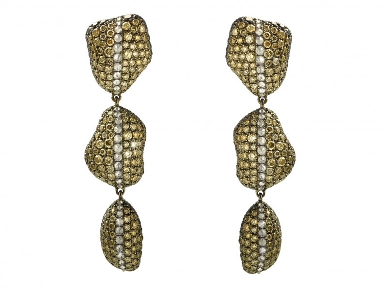 Aaron Jah Stone Stingray earrings set on silver with diamonds