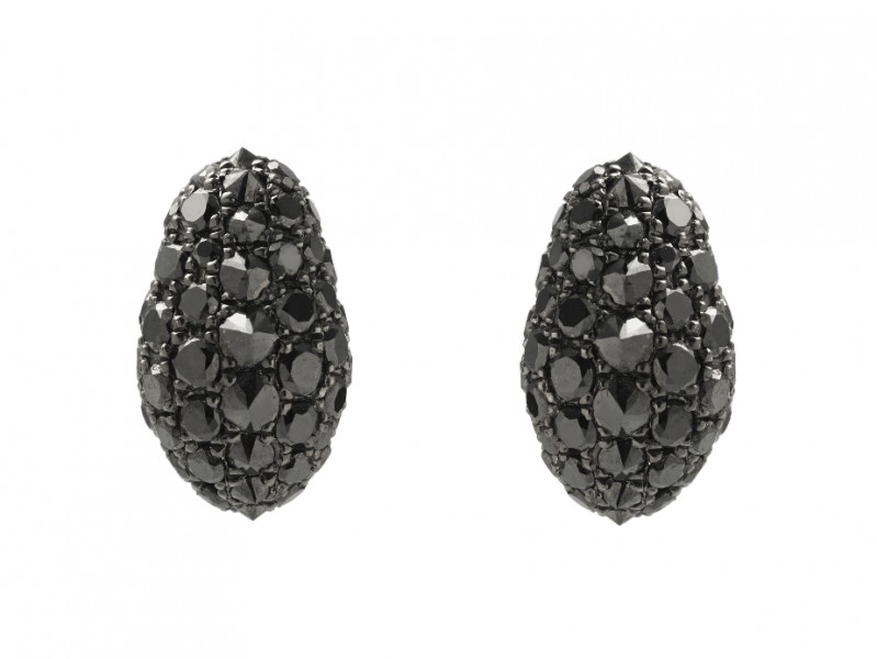 Aaron Jah Stone Stingray studs set on silver with black diamonds