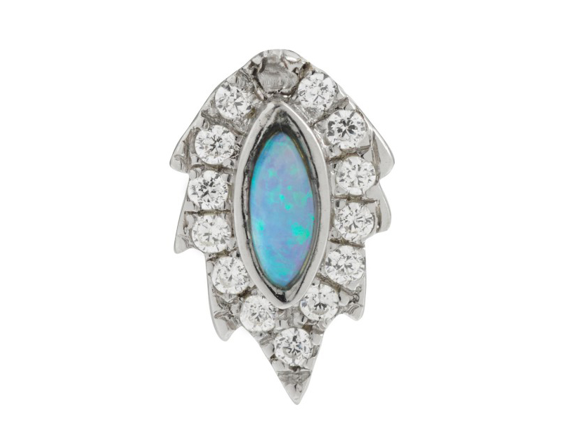 Aaron Jah Stone This stud mounted on white gold with opal and diamonds is available at the Pop Up - CHF 615