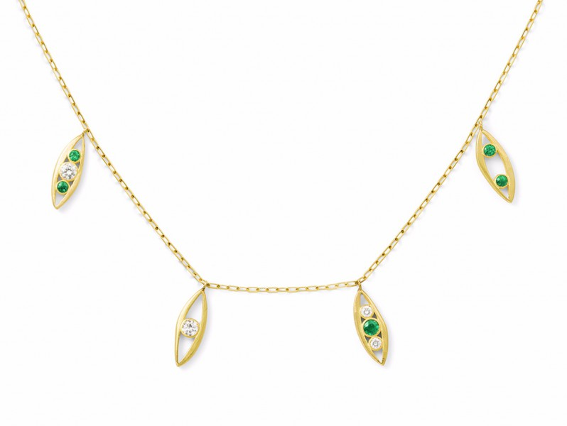 Aimée Aimer From Bel Aloha collection - Necklace mounted on yellow gold with diamonds and emarlds, ~ 2'900 Euros