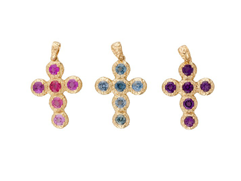 Aude Lechère Pendentif Croix - on yellow gold with pink or blue sapphires or purple amethysts - CHF 1935.-