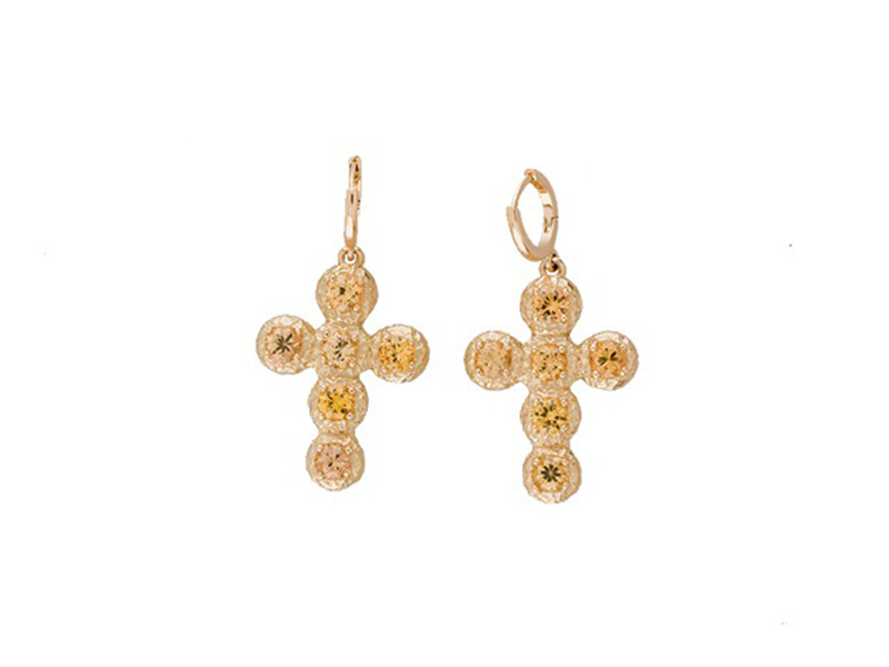 Aude Lechère Yellow Sapphire Cross Earrings mounted on yellow gold - CHF 1'710