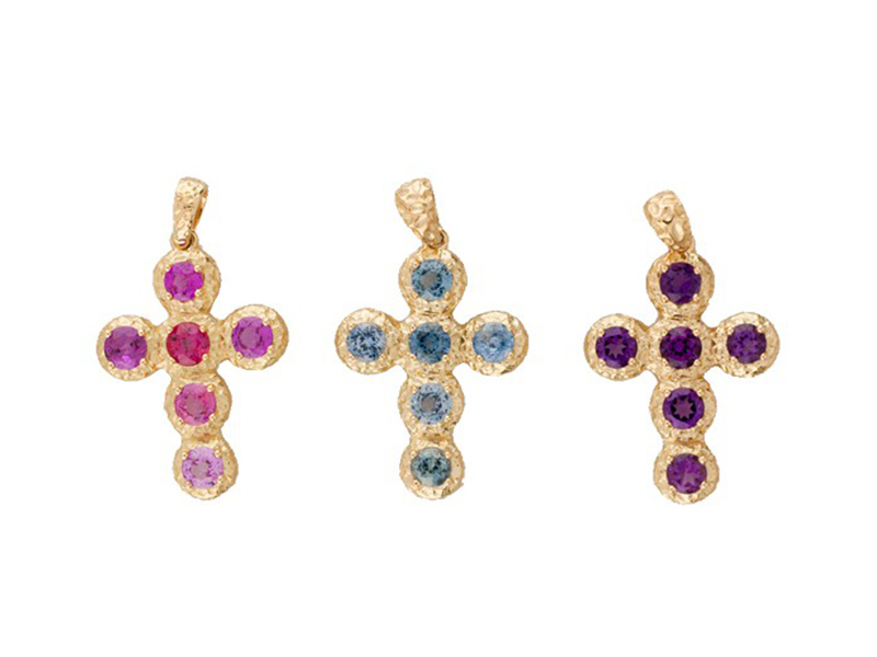 Aude Lechere These cross pendants from Noémie collection (rose sapphire, blue sapphire, amethyst) are available at the Pop Up - CHF 1'935