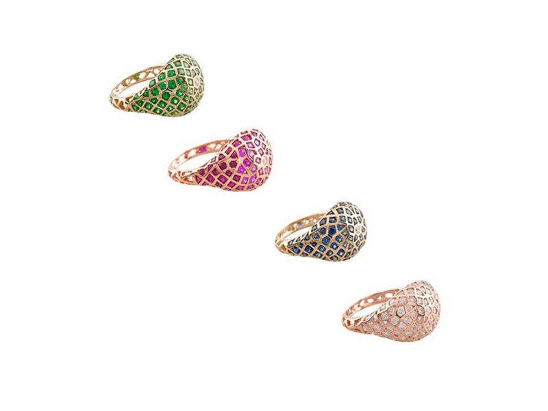 Aude Lechère Oursin Rings - set on red gold with blue or pink sapphires, green tsavorites or diamonds. AVAILABLE AT THE EYE OF JEWELRY POP UP STORE IN GENEVA