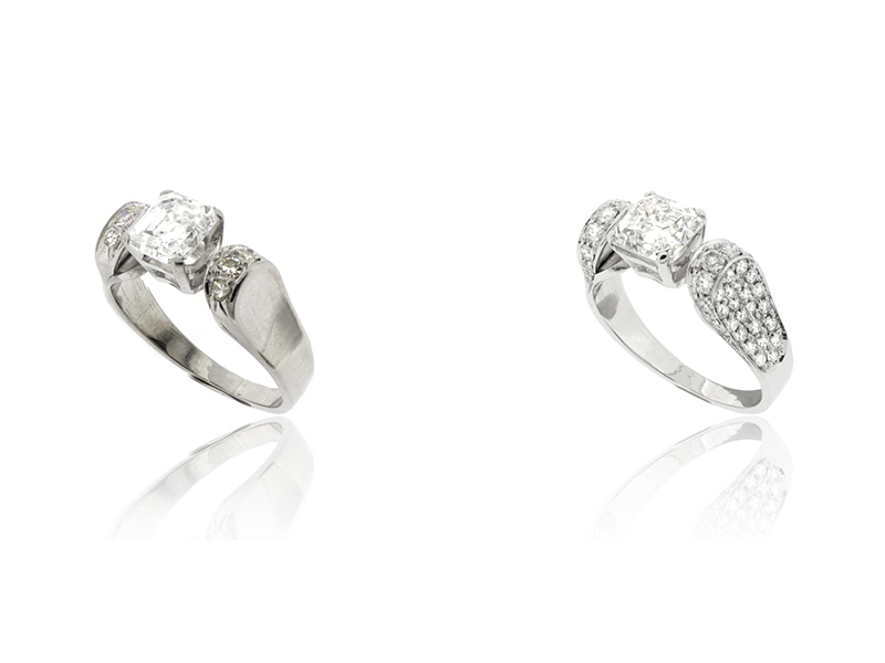 Ring diamonds before after
