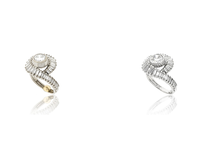2 Rings before after diamonds