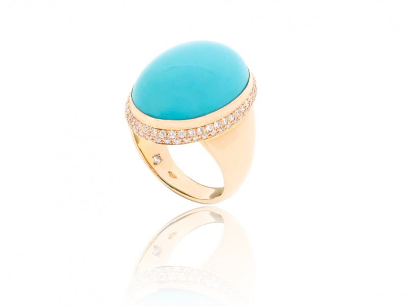 BenGems Ring mounted on rose gold set with cabochon turquoise and 90 diamonds
