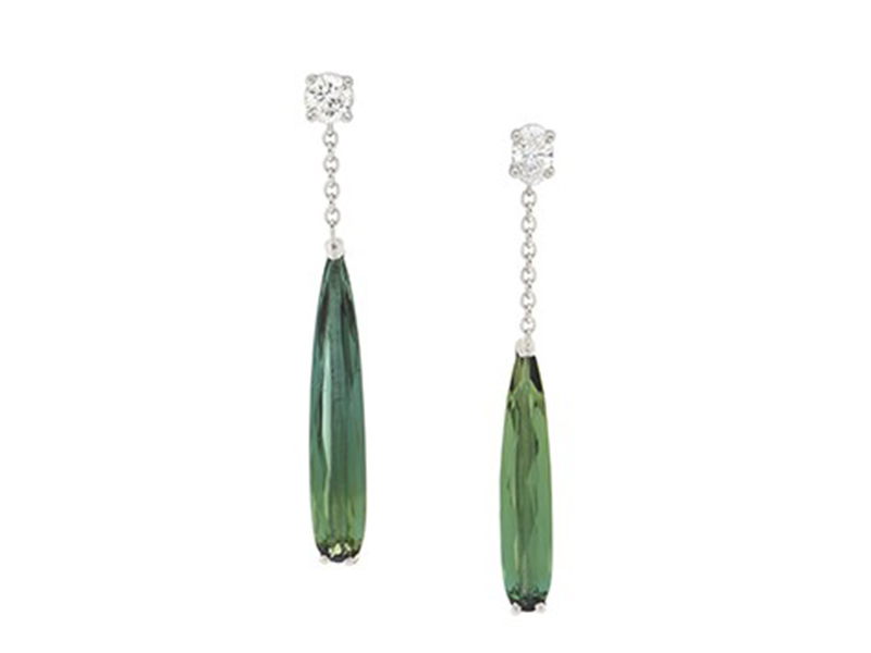 BenGems Earrings mounted on white gold set with two white diamonds and two pear tourmalines