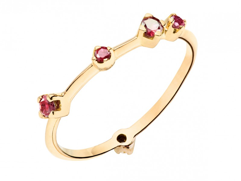 Rivka Nahmias From Keter collection - Boheme ring mounted on yellow gold with 5 rubies, ~ 950 Euros