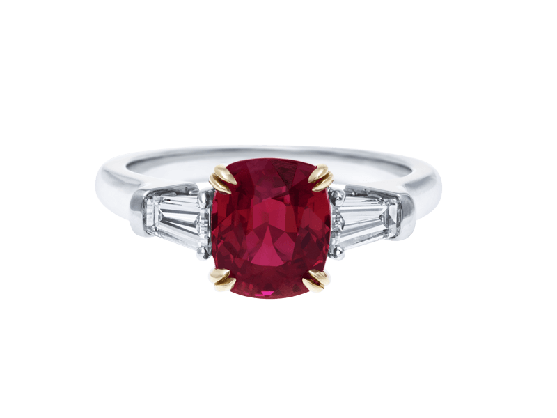 Harry Winston Ruby Engagement Ring baguette cut diamonds
