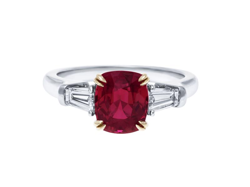Harry Winston Ruby Engagement Ring baguette cut diamonds
