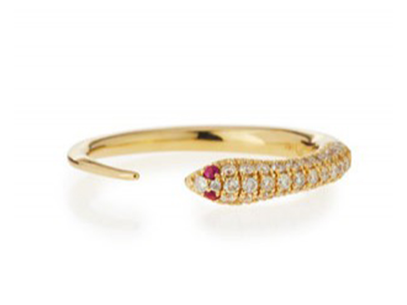 Sydney Evan Pave diamond skinny snake ring mounted on yellow gold ~ USD 1'300