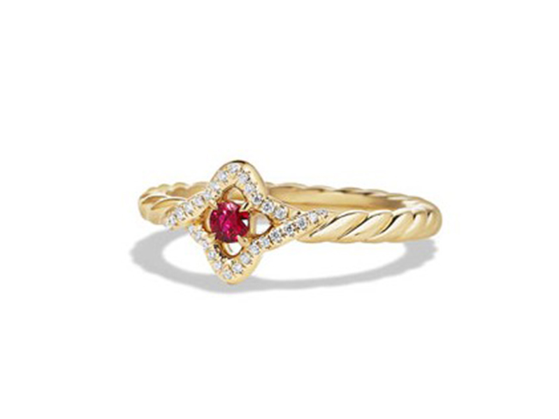 David Yurman Venetian quatrefoil ruby ring mounted on yellow gold ~USD$ 1'550