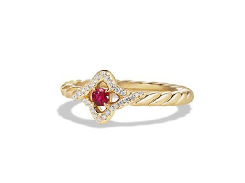 David Yurman Venetian quatrefoil ruby ring mounted on yellow gold ~USD$ 1'550