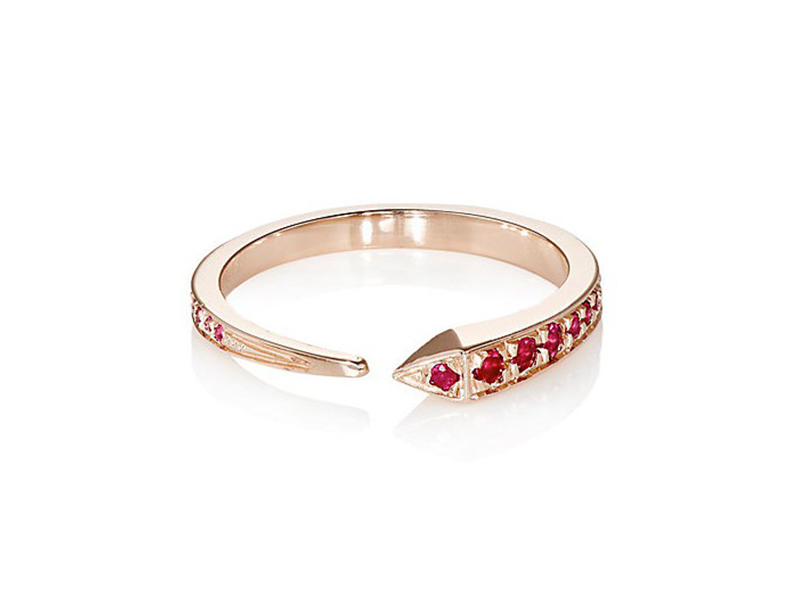 Tilda Biehn Comet ring mounted on ose gold with rubies ~ USD$ 1'650