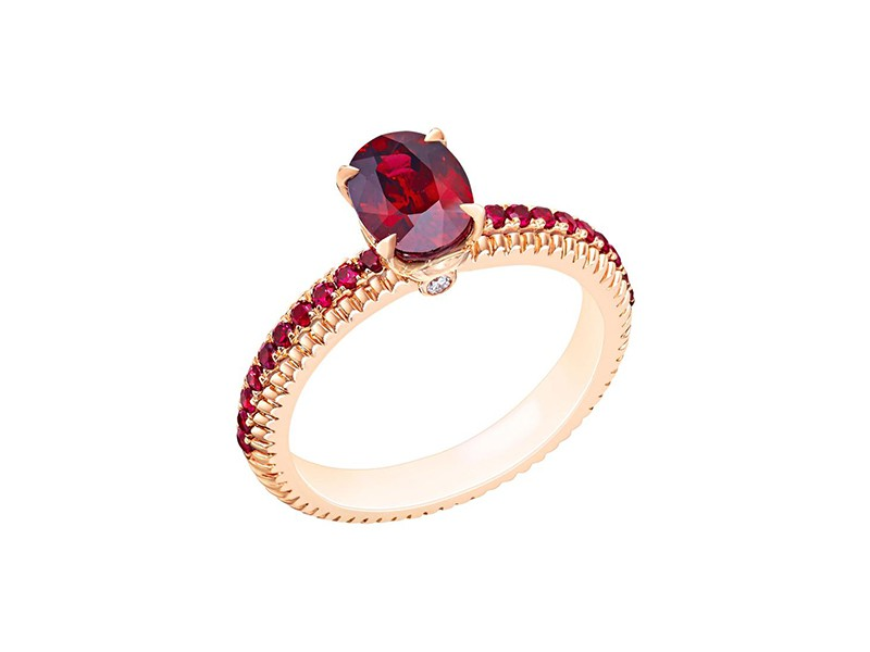 Fabergé Fluted ruby engagement ring mounted on rose gold ~ GBP£ 7'330